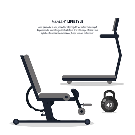 weight machine: Healthy lifestyle and Fitness concept represented by machine and weight icon. Isolated and flat illustration. Illustration