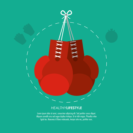 nutritional: Healthy lifestyle and Fitness concept represented by red boxing gloves icon. Colorfull and flat illustration.