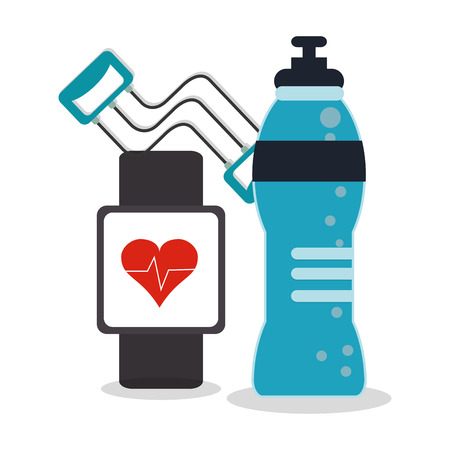 Healthy lifestyle and Fitness concept represented by watch and bottle icon. Colorfull and flat illustration. Illustration