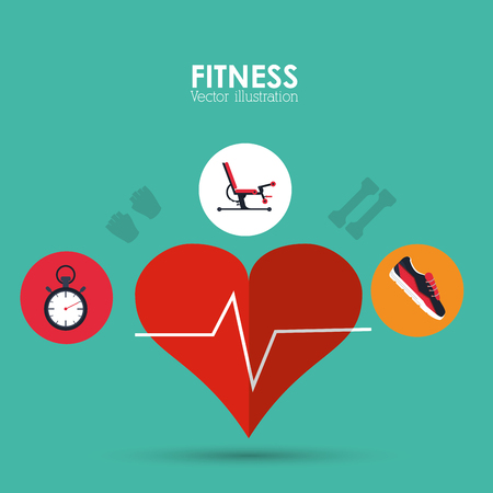 cronometro: estilo de vida saludable y el concepto de fitness representada por el pulso del corazón de la máquina cronómetro y zapatos icono. Llena de color e ilustración plana. Vectores