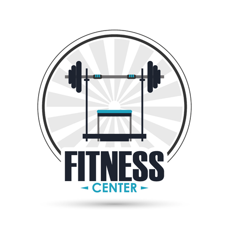 Healthy lifestyle and Fitness concept represented by weight icon over seal stamp illustration.