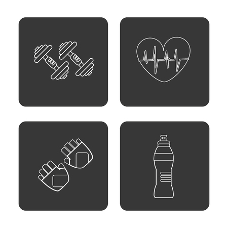 doctor gloves: Healthy lifestyle and Fitness concept represented by gloves bottle heart weight icon over frames . Isolated and flat illustration.