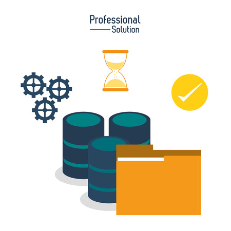 Professional solution concept represented by files and data center icon. Colorfull and flat illustration.