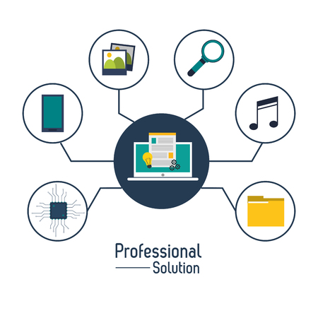 technology symbols metaphors: Professional solution concept represented by laptop and icon set. Colorfull and flat illustration. Illustration