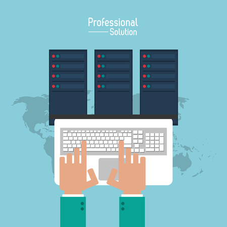 consult: Professional solution concept represented by laptop and data center icon. Colorfull and flat illustration. Illustration