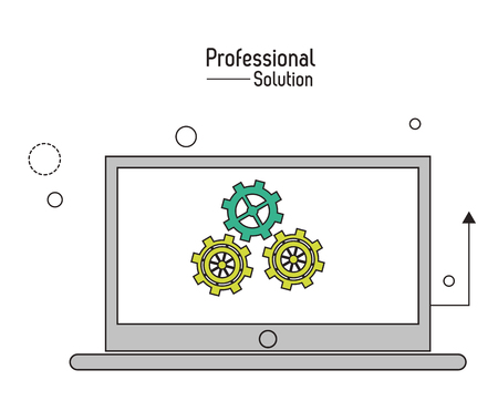 proffesional: Professional solution concept represented by laptop and gears icon. Colorfull and flat illustration. Illustration