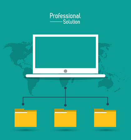 technology symbols metaphors: Professional solution concept represented by laptop file icon over map. Colorfull and flat illustration.