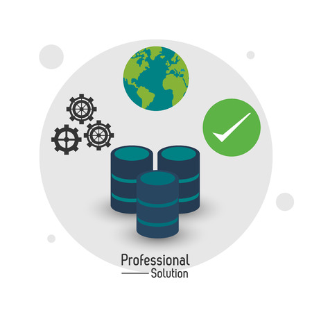 technology symbols metaphors: Professional solution concept represented by data center icon. Colorfull and flat illustration.