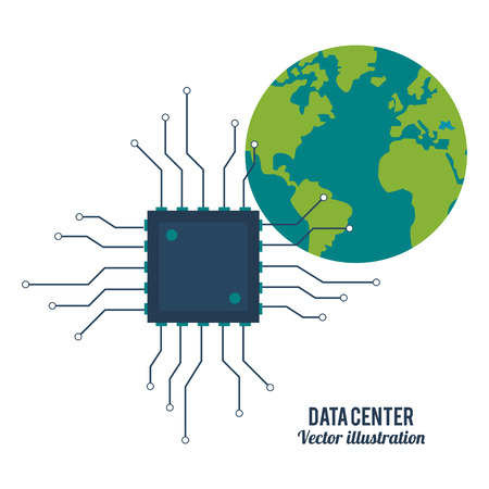 Data center concept represented by circuit board and planet icon. Colorfull and flat illustration.