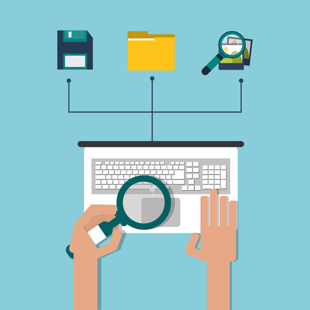 proffesional: Professional solution concept represented by laptop file dikette photo and lupe icon. Colorfull and flat illustration. Illustration
