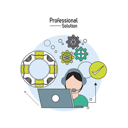 Professional solution concept represented by laptop and operator man icon. Colorfull and flat illustration.
