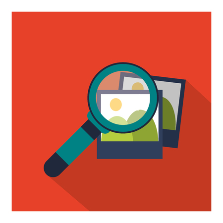 lupe: Search concept represented by lupe and picture icon. Colorfull and flat illustration.