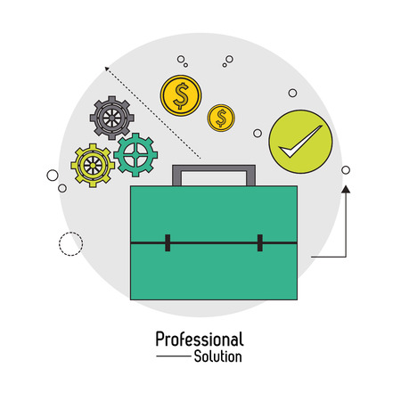 proffesional: Professional solution concept represented by suitcase icon. Colorfull and flat illustration.