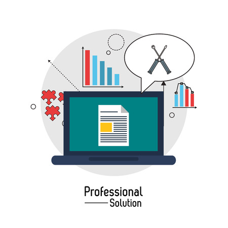 consult: Professional solution concept represented by laptop and screwdriver icon inside bubble. Colorfull and flat illustration.