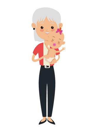 cherish: flat design elder woman carrying baby icon vector illustration Illustration
