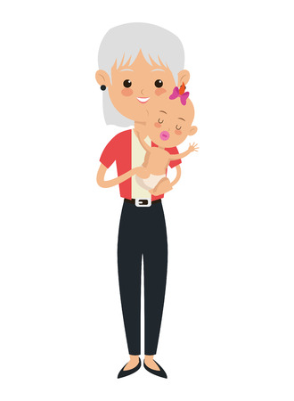 flat design elder woman carrying baby icon vector illustration Illustration