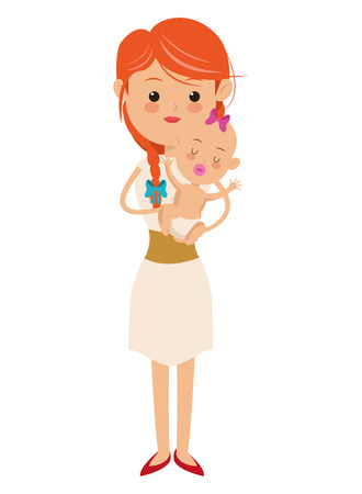 flat design woman carrying baby icon vector illustration
