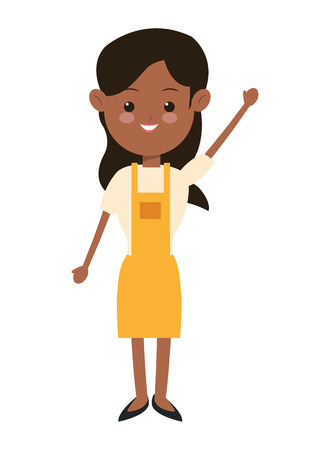single woman: flat design single woman wearing apron icon vector illustration