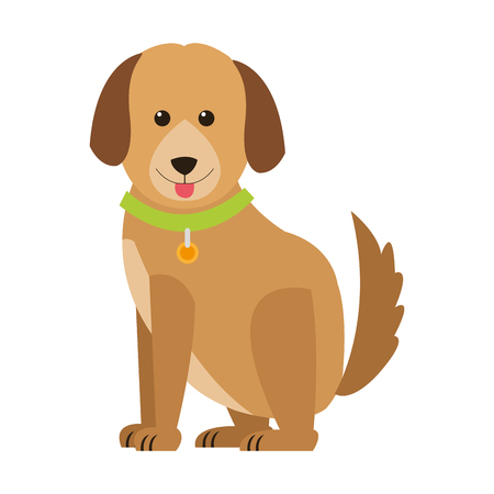 flat design cute dog icon vector illustration Vettoriali