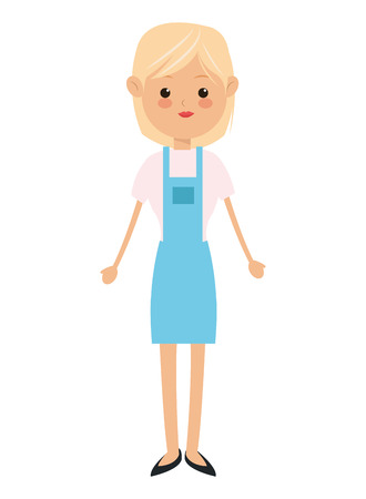 businesswoman skirt: flat design single woman wearing apron icon vector illustration