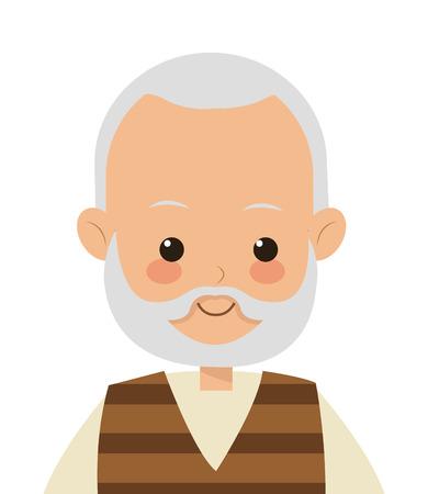 flat design elder man icon vector illustration 向量圖像