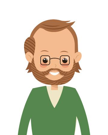 flat design single middle age man icon vector illustration Illustration