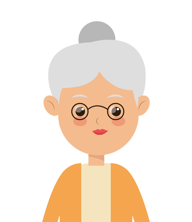 happy woman: flat design elder woman icon vector illustration Illustration