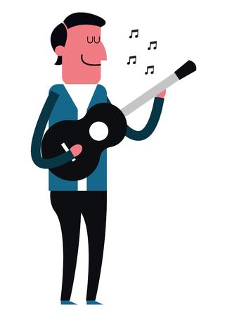 flat design man playing guitar icon vector illustration