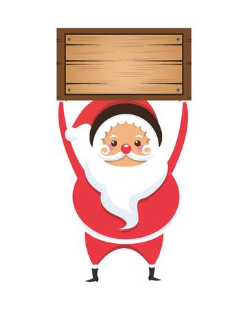 white bacjground: flat design santa claus holding wooden box icon vector illustration