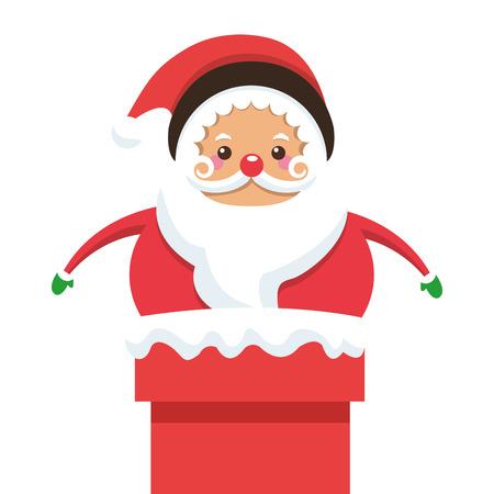 white bacjground: flat design santa claus stuck on chimney icon vector illustration