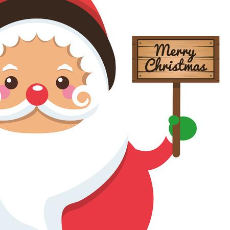white bacjground: flat design santa claus holding sign icon vector illustration