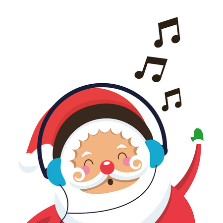white bacjground: flat design santa claus listening to music icon vector illustration Illustration