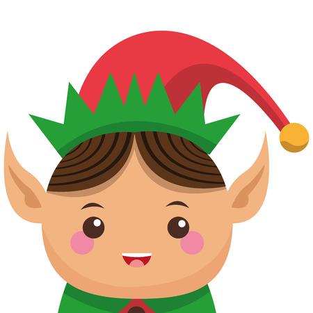 helper: flat design happy cute christmas elf icon vector illustration Illustration