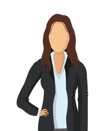 listeners: flat design business woman fashion icon vector illustration