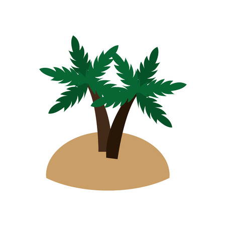 flat design island and palm trees icon vector illustration