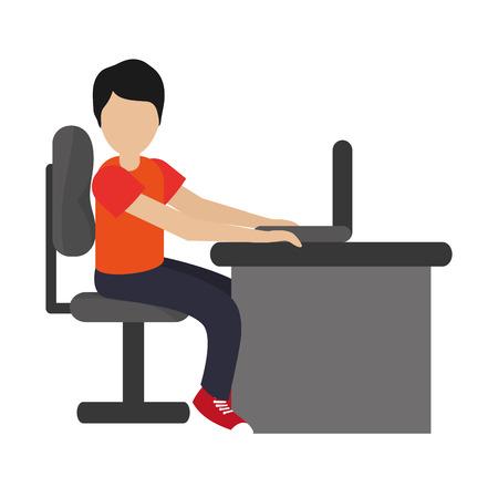 using laptop: flat design man using laptop on desk icon vector illustration Illustration