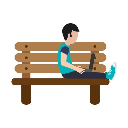 flat design man using laptop on bench icon vector illustration
