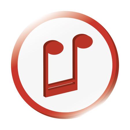semiquaver: flat design semiquaver musical note icon vector illustration