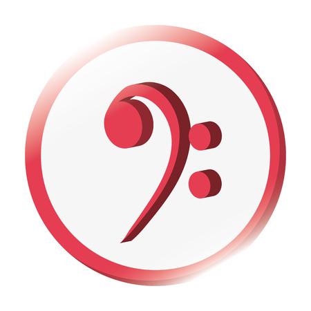 clave de fa: diseño plano clave de fa nota musical ilustración del vector del icono