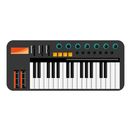 octave: flat design music keyboard icon vector illustration