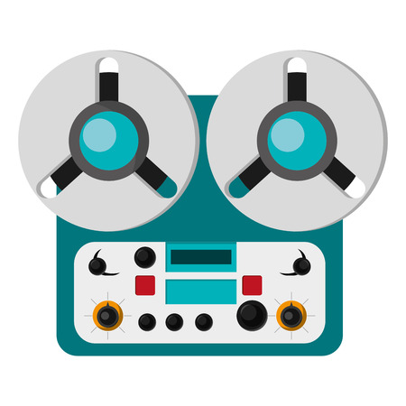 flat design reel tape recorder icon vector illustration Illustration