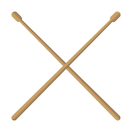 flat design pair of drumsticks icon vector illustration