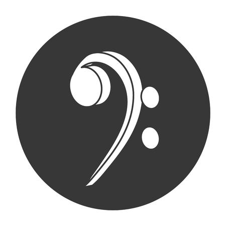clave de fa: dise�o plano clave de fa nota musical ilustraci�n del vector del icono