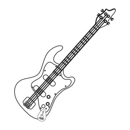 design piatto chitarra elettrica icona illustrazione vettoriale