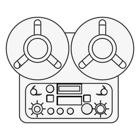 tape recorder: flat design reel tape recorder icon vector illustration Illustration