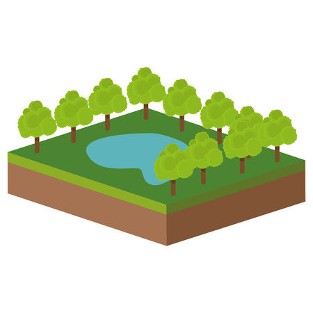 flat design park with lake icon vector illustration