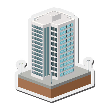 tall building: flat design tall building icon vector illustration