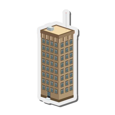diseño plano edificio alto icono de la ilustración del vector
