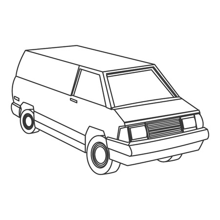 haulage: flat design commercial van icon vector illustration