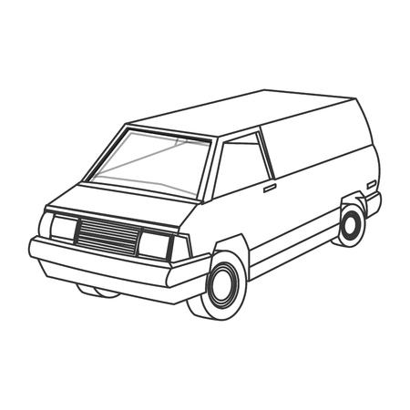 panel van: flat design commercial van icon vector illustration